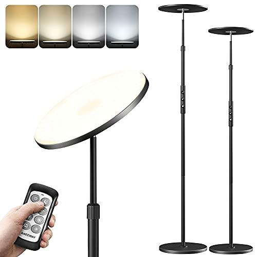 ANEEWAY Lampara de pie LED, 30W Moderna Lámpara de Pie LED Regulable con Mando a Distancia para Salón, Dormitorio, Oficina, Hotel - Negro