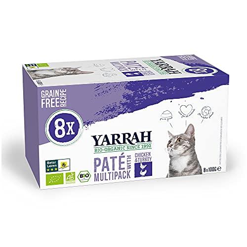 Yarrah Bio Katzenfutter - 8 x 100gr - Huhn und Truthahn - Getreidefrei