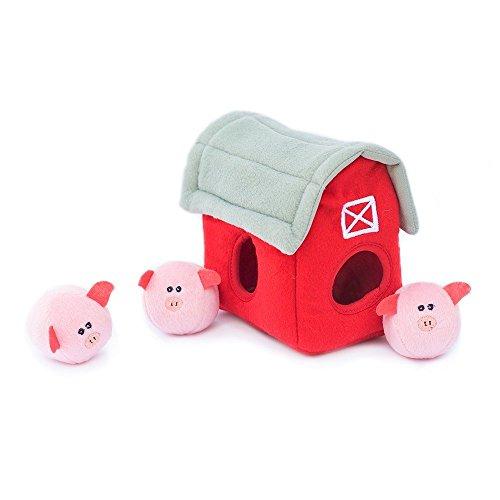 ZippyPaws - Farm Pals Burrow, Interactive Squeaky Hide and Seek Plush Dog Toy - Bubble Babiez Pig Barn