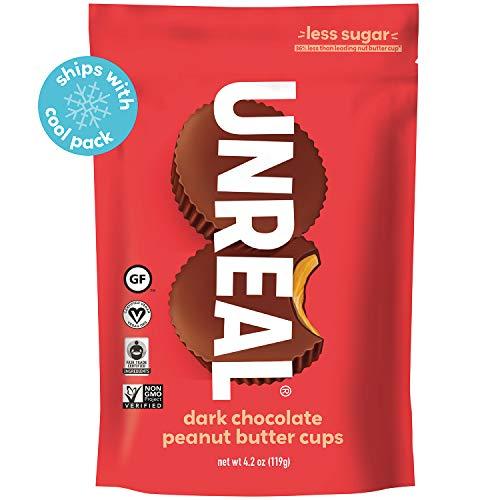 UNREAL Dark Chocolate Peanut Butter Cups | Less Sugar, Vegan, Gluten Free | 6 Bags