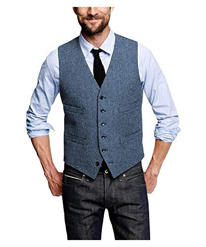 Mannen Suit Vest Wol Herringbone Suit Vest Heren Bruiloft Tuxedo Waistcoat Plus Size