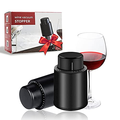 CVOZO 2 Pezzi Tappo Vino Sottovuoto, Tappo Stopper Vino, Tappo Bottiglia Vino, Tappi Vino di Riutilizzabili Champagne Sottovuoto con Indicatore della Data, Miglior Regalo per Gli Amanti del Vino