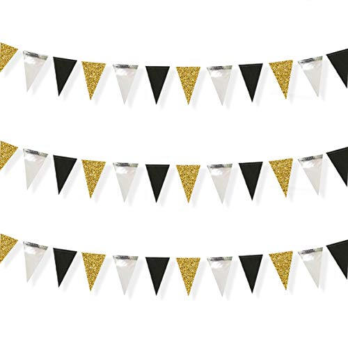 30 Feet Double Sided Glitter Paper Triangle Flag,Bunting Pennant Banner for Birthday/Holiday/Wedding/Anniversary/Graduation Theme Party Supplies Decorations.(Gold+Mirror-like silver+Black)