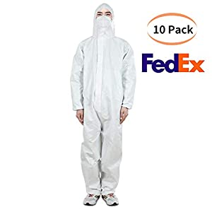Disposable Protective Coverall Disposable Isolation Coveralls Protective Suit with Attached Hood Elastic Wrist and Ankle Cuffs (10, XL)