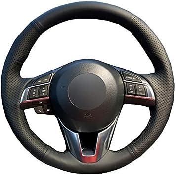 Hcdswsn Diy Schwarz Weiche Mikrofaser Leder Auto Lenkradbezug Für Mazda Cx 5 Cx5 Atenza 2014 Für Mazda 3 Cx 3 2016 Scion Ia 2016 Sport Freizeit