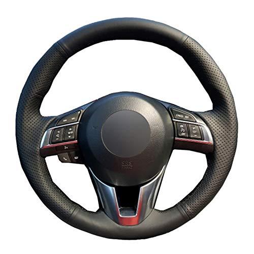 HCDSWSN DIY Schwarz Weiche Mikrofaser LederAuto Lenkradbezug Für Mazda CX-5 CX5 Atenza 2014 FürMazda 3 CX-3 2016 Scion IA 2016