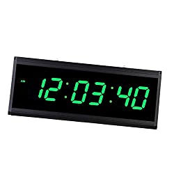 Flameer Digital LED Wall Clock, Extra Large Time Display, Plug-in Clock, Red/Green/Blue, 18.90''x 7.48'' x 1.57'' - Green