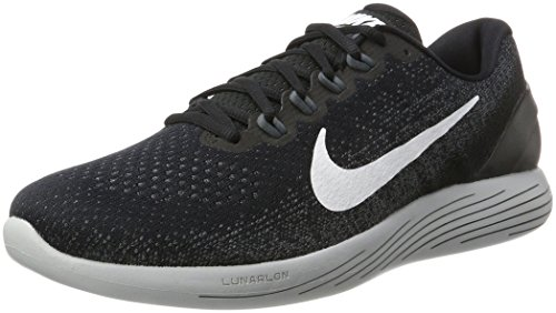 Nike Lunarglide 9, Zapatillas de Running Hombre, Multicolor (Black/White/Dark Grey/Wolf Grey 001), 40 EU