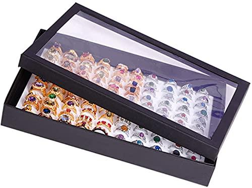 wangYUEQ Joyero de terciopelo Joyero Caja de almacenamiento de joyería con cubierta transparente para pendientes, anillos, collares, pulseras negro (color: Style2)