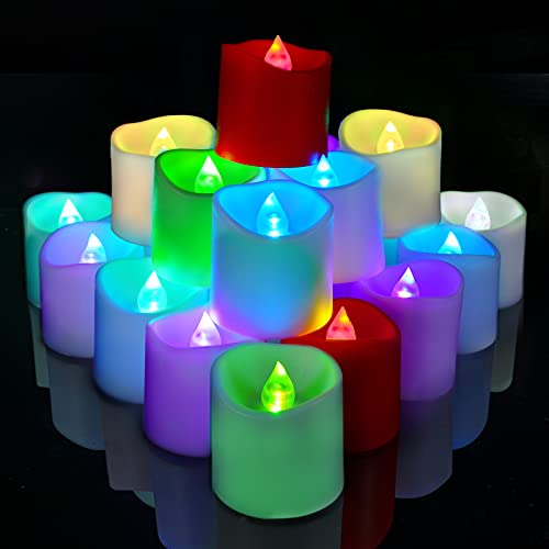 Homemory 24Pack Color Changing Flameless LED Votive Candles, Battery Operated Tealights, Electric Fake Candles in Multi-Colored for Party, Halloween, Table Decorations (White Base, Battery Include)