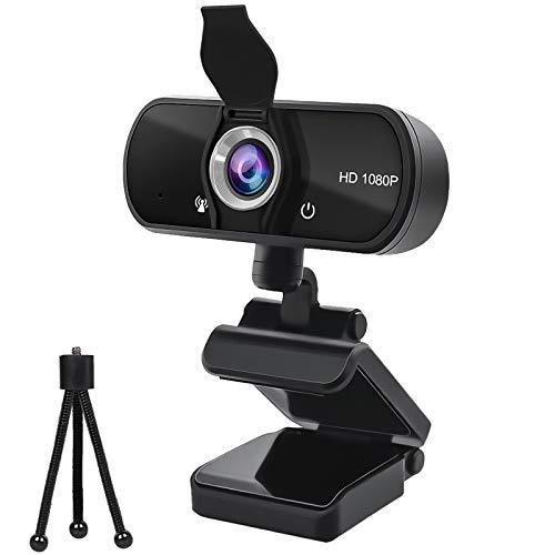 Datarm Webcam HD 720P Cámara con Micrófono USB 2.0 Plug y Play PC Computadora Portátil Webcam para Videollamadas Grabación Conferencia con Clip Giratorio y Cubierta de Protección de Privacidad