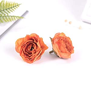 Silk Flower Arrangements BoKa Store - 10Pcs/lot 4CM Slik Peony Handmade Artificial Flowers Head for Wedding Decor Home DIY Wreath Scrapbooking Fake Flower Craft Gifts - Begonia Red - 20pcs Decorative Flowers