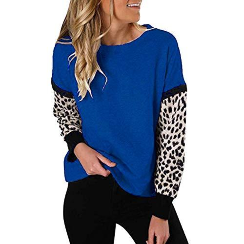 TUDUZ Blusas Mujer Manga Larga Camisas Suelta Tops Leopardo Impresión Camisetas (Azul.c, XL)