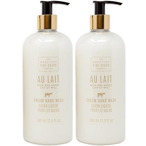 Scottish Fine Soap Au Lait Milk & Honey Cream Hand Wash Gift Set of 2 | LARGE 17.5 Ounce Each