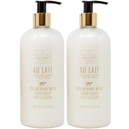 Scottish Fine Soap Au Lait Milk & Honey Cream Hand Wash Gift Set of 2 | LARGE 17.5 Ounce Each