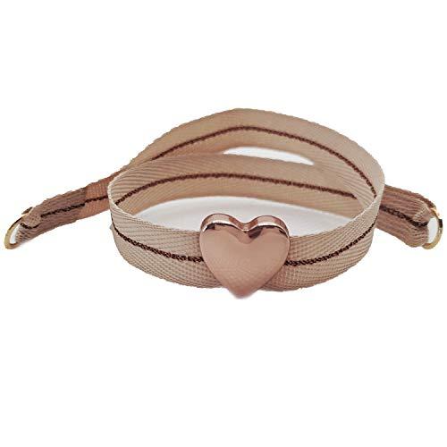 Nora Pfeiffer Bracciale Nodo in Tessuto con Ciondolo a forma di cuore in ottone anallergico placcato oro rosa e Ottone, colore: beige., cod. 0