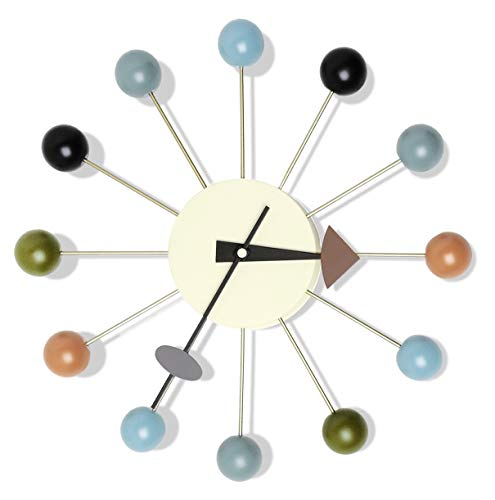 Ainsintsy Mode Wanduhr Kreativ Candy Uhr,Nelson Ball Clock Multi Color Nicht Ticken 3D rahmenlose Quarzuhr Dekorative Für Zuhause Büros 33x33cm