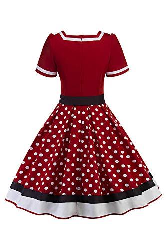 Misshow Swing Kleid Sommer Polka Dots Mädchen Kleider Tellerrock Damen, Weinrot – L - 2
