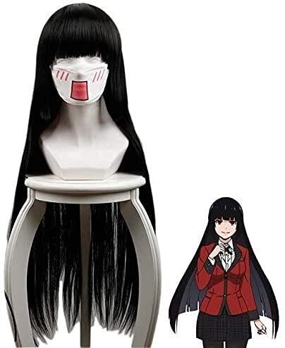 Kakegurui Yumeko Jabami Pelucas Cosplay negro largo recto resistente al calor pelo sinttico Perucas anime peluca 441A (color 441A)