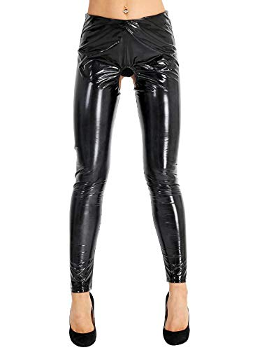 Freebily Damen Wetlook Leggings Lackleder Ouvert Tights Hose Pants Glänzend Hose Stretch PU Lederhose Skinny Hose Clubwear Schwarz M