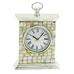 Deco 79 Aluminum Stone Table Clock, 9 by 7-Inch