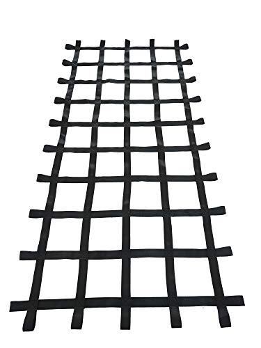 Fong 8 ft X 4 ft Climbing Cargo Net Black (96 inch x 48 inch) - Playground Cargo Net - Climbing Net for Swingset - Indoor Climbing Net - Climbing Ladder