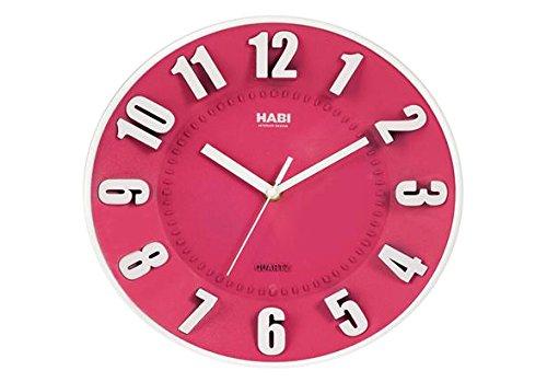 Habi Horloge Murale, Ronde, 25 cm, Plastique, Fuchsia