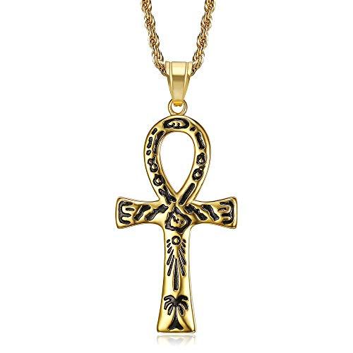 BOBIJOO Jewelry - Pendentif Collier Croix Ankh de Vie Egyptienne Acier 316L Or Doré Plaqué hiéroglyphes Noirs Chaîne