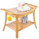 Shower Bench with 2 Tier Storage Shelf,Bamboo Shower Bench Bath Stool Applicable to Bathroom or Living Room