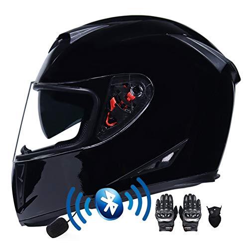 Casco de Moto Bluetooth Integrado, Cascos de Moto Scooter con Guantes y Mascarilla, Casco Integral ECE Homologado con Doble Anti Niebla Visera Hard para Mujer Hombre 55-64CM