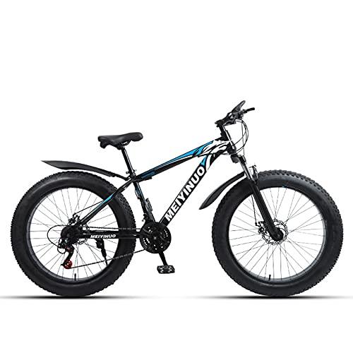 WLWLEO 26 Pollici Mountain Bike per Uomo Fat Tire Beach Snow Bike Bicicletta da Montagna con Coda Dura con Forcella Anteriore Ammortizzata,Freno a Doppio Disco,MTB all Terrain,C,24 Speed
