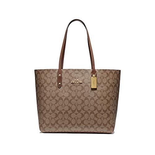 Coach Signature Town Tote Khaki/Saddle Brown