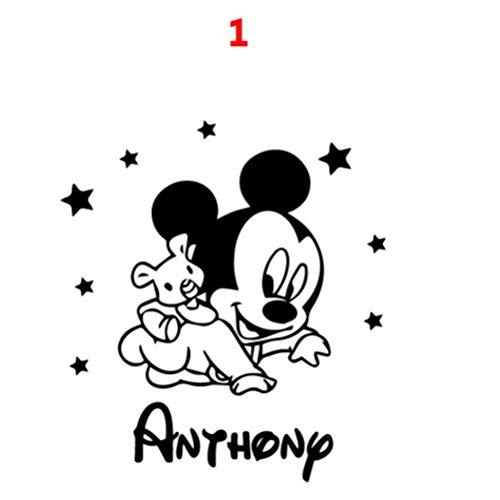 ASFGA Benutzerdefinierte Name Cartoon Maus Vinyl Wandaufkleber Dekoration Kindergarten Zimmer Kinder Baby Zimmer Dekoration Aufkleber Aufkleber Wandbild 43x47cm