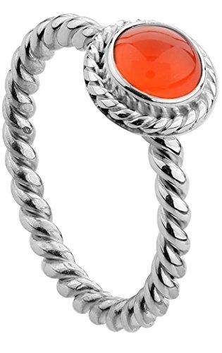 Nenalina Damen Ring Silberring besetzt mit 6 mm orangem Karneol Edelstein, handgearbeitet aus 925 Sterling Silber, Gr. 52-212999-008-52