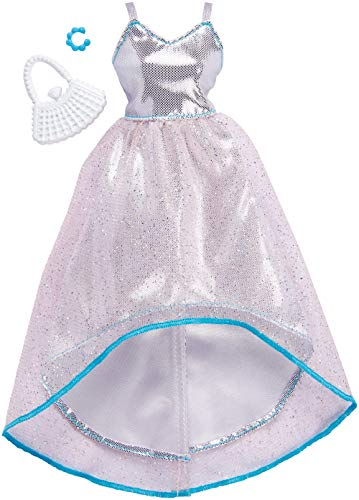 Barbie FKT11 Fashions Komplettes Outfit silbernes Abendkleid, Puppe