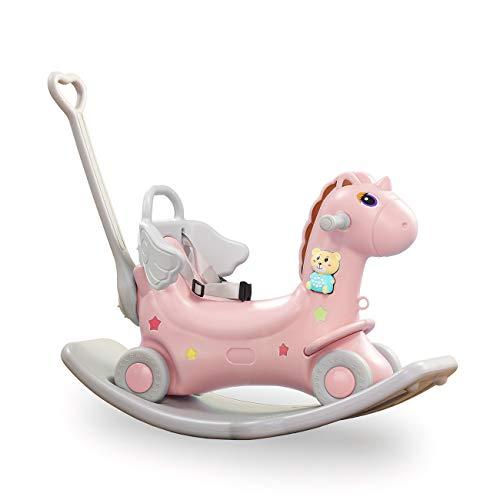 Baby Vivo 2en1 Caballito Balancín Caballo Unicornio con Coches Correpasillos con Ruedas Elemento Musical Bebé - Rosa