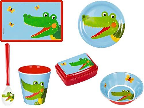 Die Spiegelburg 6-teiliges Melamin-Geschirr-Set Krokodil Freche Rasselbande 15172 15170 15168 15174 15184 15177 Schale + Becher + Teller + Löffel + Mini-Snackbox + Tisch-Set