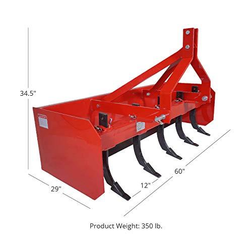 Titan Attachments Box Blade Tractor Attachment 5' Quick Hitch 3 Point Pin Style