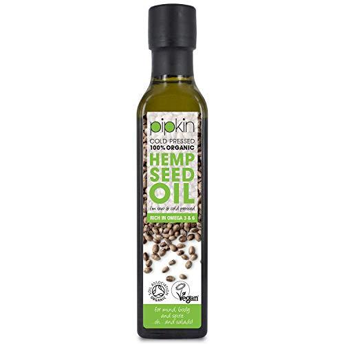 Pipkin Aceite de Cáñamo 100% Orgánico 250ml, Crudo, Prensado en Frío, Sin...
