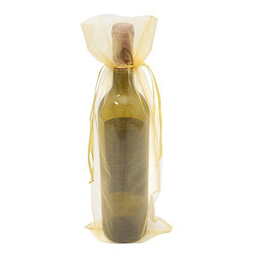 SXUUXB Bolsos de Botella de Vino de Organza, 50pcs Bolsas de Envoltorio de Regalo de Botella de Vino de Organza para la Boda Día de San Valentín de Navidad (Oro) - 37x14cm / 14.5 * 5.5in