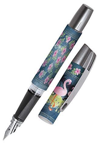 Online Stylo plume ergonomique pour l'école - Campus Flamingo - plume iridium M (moyenne) robuste, utilise des cartouches d'encre standard, rechargeable, pour filles/garçons/adultes 61114/3D