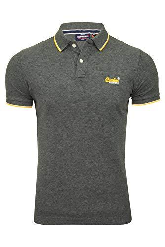 Superdry Herren Poolside Pique S/S Polo Poloshirt, Grau (Black/Grey Marl NLN), Medium (Herstellergröße:M)