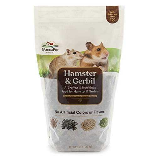 Manna Pro Hamster & Gerbil Feed | Feed with Vitamins & Minerals for Hamsters & Gerbils | No Artificial Colors or Flavors | 2.5 lb