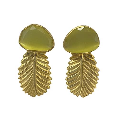 Fenomeno - Pendientes tropicales de plata chapada en oro con colgante con piedras duras semipreciosas