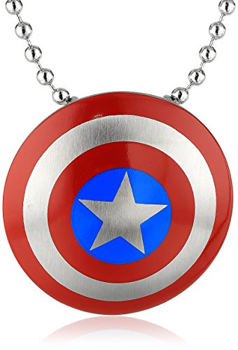 Marvel Comics Unisex Captain America Stainless Steel Chain Pendant Necklace, 24'