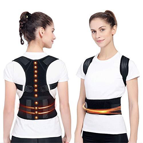 Magnetische Haltungskorrektur, Haltungstrainer Rückenbandage Rücken Unterstützung Verstellbare Posture Corrector für Damen und Herren Therapie für oberen Rücken Schulter und Nacken Schmerzlinderung