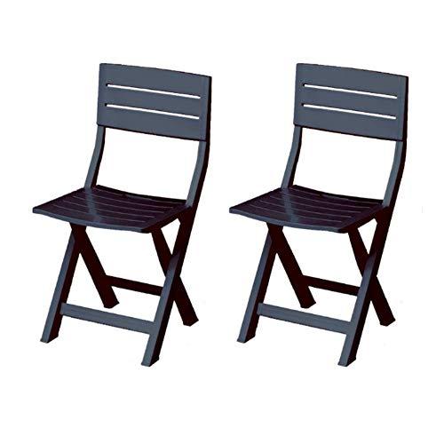 Juego de sillas de jardín plegables, 2 sillas de resina para exteriores,...