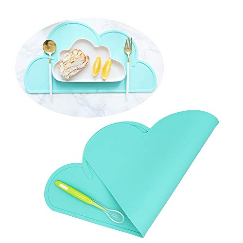 Silicone Baby Placemat - Kids Reusable Travel Placemat Tiny Diner Portable Roll Up Washable Restaurant Food Meal Mat for Toddler Child Infant (Green)