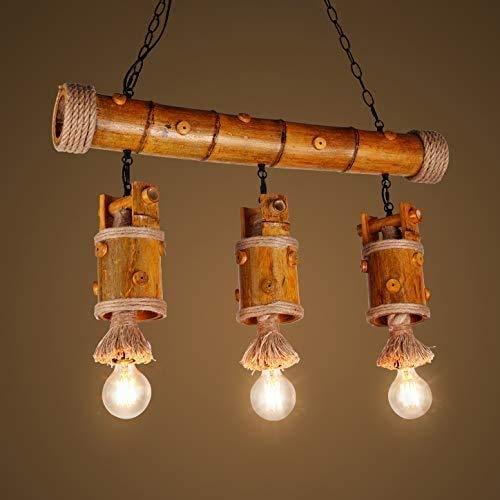 ZSAIMD Lámpara de la forma rústica de madera retro pendiente de la luz de bambú restaurante Balcón luz de techo de la luz 3 Island Estilo Rústico colgante de la isla de café de la barra del restaurant