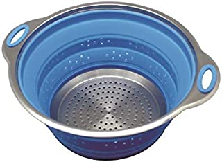 Sailing Premium Collapsible Silicone Colander/Strainer with Stainless Steel Base, Spaghetti and Pasta Strainer